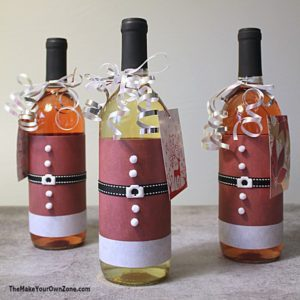 How to make Santa suits for wine bottles