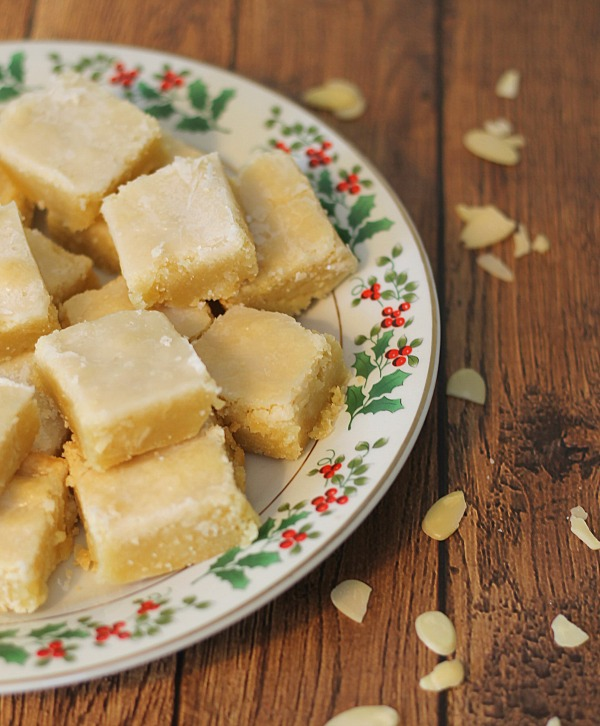 Glazed Almond Bars - Rich, moist, and sweet, these bars make the perfect treat especially around the Christmas holidays!