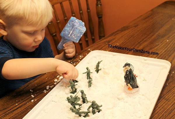 Make your own play snow with two simple household ingredients