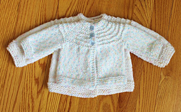 Free Knitting Pattern For A 5 Hour Baby Sweater Includes Simple Adaptation To Make