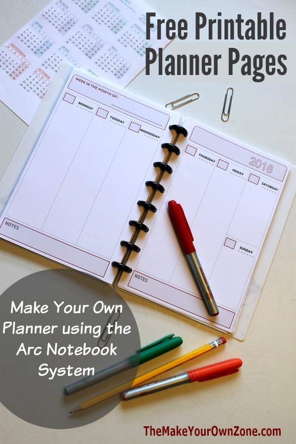 2018 Free printable planner pages - make your own planner using the Arc Notebook System - perpetual undated options too!