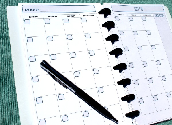 Free printable planner pages - monthly and weekly formats for Arc Junior notebooks