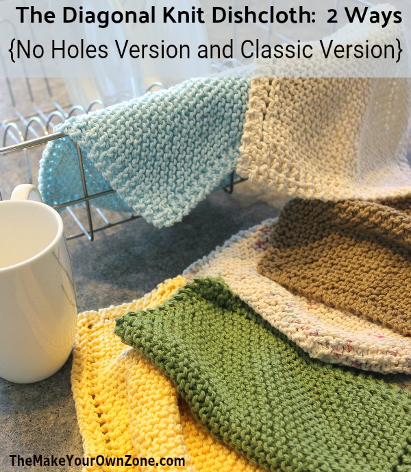 Garter Stitch Diagonal Knit Dishcloth Pattern with a couple of new updates! Includes a No Holes version and updated corners.