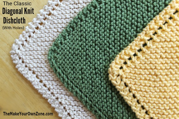 The Diagonal Knit Dishcloth - Free Knitting Pattern includes the classic version with holes on the edge, and an update No Holes version too!