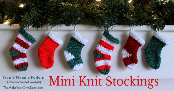 Pattern for mini knit stockings using two straight needles - no double pointed needles needed!