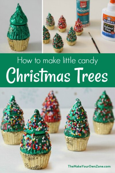 Little Christmas Trees made with a Hershey Kiss and Peanut Butter Cups