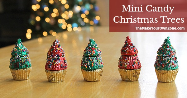 Christmas craft - make mini trees using Reese's and a Kiss