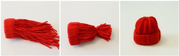 How to make mini yarn stocking cap ornaments