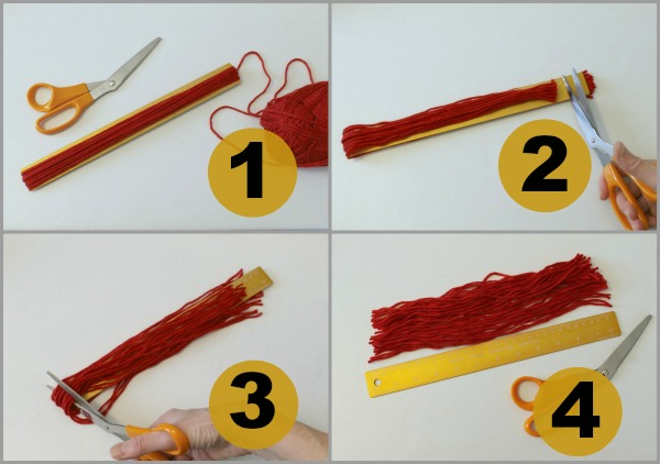 Cutting yarn to make mini stocking cap ornaments