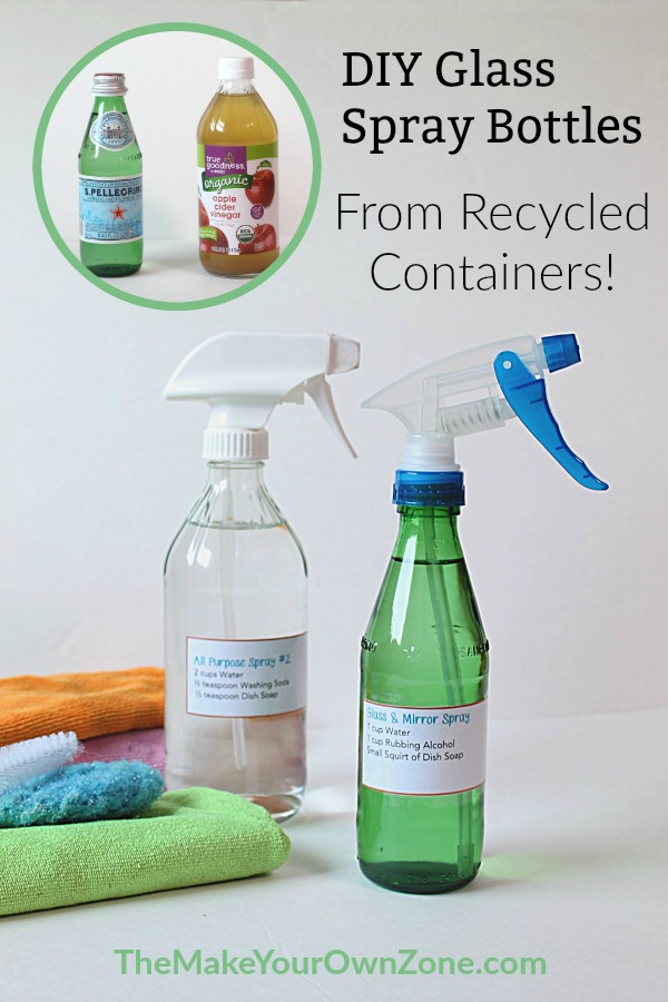 DIY Glass Spray Bottles for Homemade Cleaners - Make your own spray bottles by using recycled glass bottles