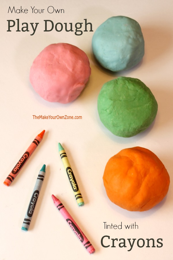 How to make your own play dough - this recipe for homemade play dough uses crayons to color the mixture too!