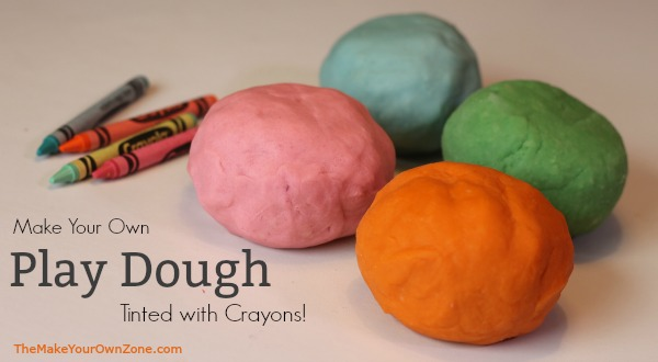 Recipe for homemade play dough tinted with coloring crayons