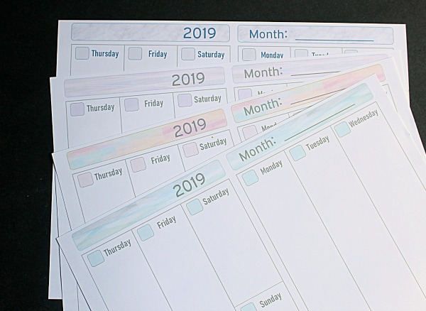 2019 Free Printable Planner Pages The Make Your Own Zone