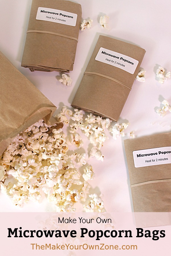 Easy homemade microwave popcorn bags using brown paper lunch bags and popcorn kernels