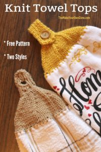 How to knit a top for a towel for easy hanging in the kitchen.