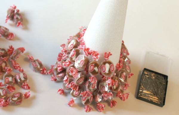 How to make a candy Christmas tree using caramels and a styrofoam cone
