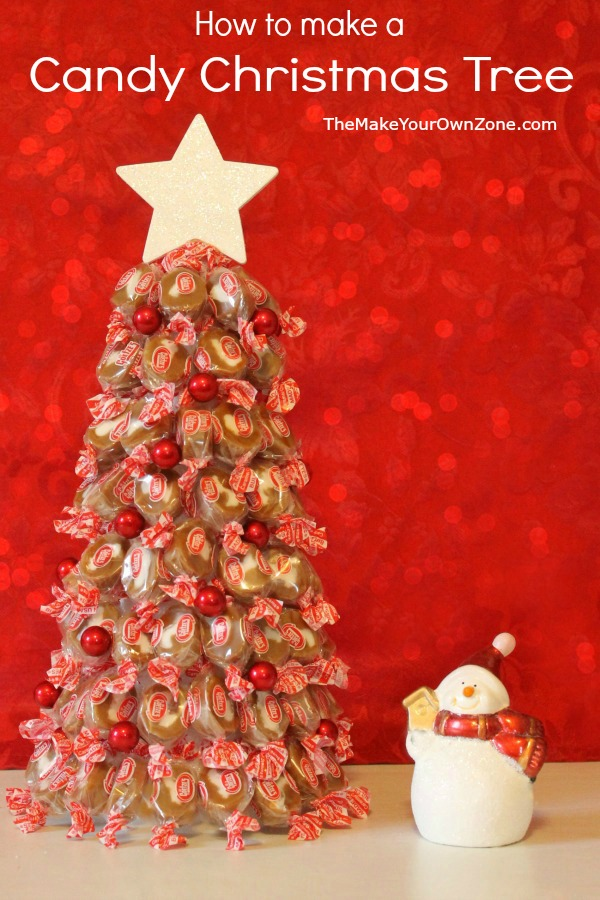 Learn how to make a candy Christmas tree. This tree uses Goetze's caramels and is not only pretty but fun to give as a food gift too!