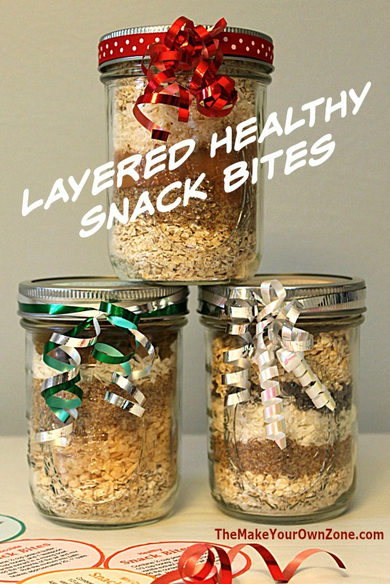 Layered jar mix for healthy snack bites made with whole food ingredients