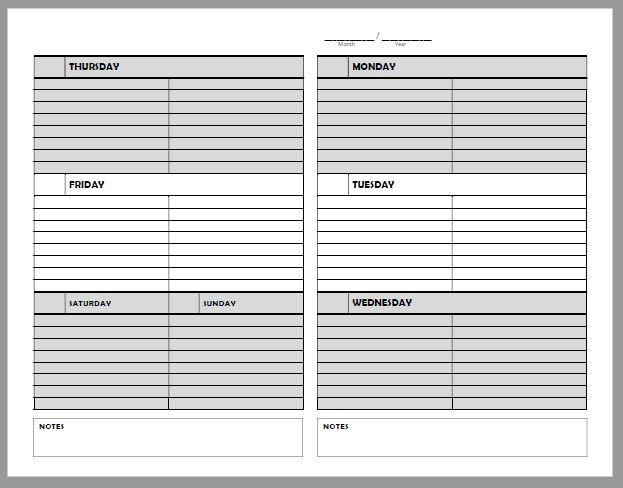 Free printable planner page - undated for perpetual use