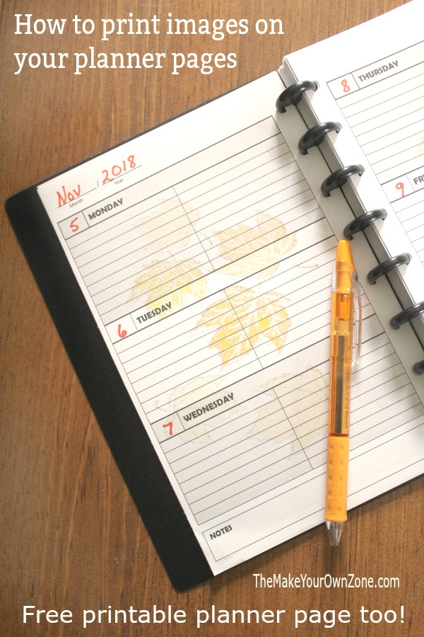 Free printable planner page - plus how to print images on your pages
