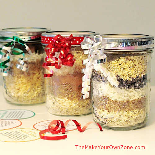 3 jars of layered mix for energy bites