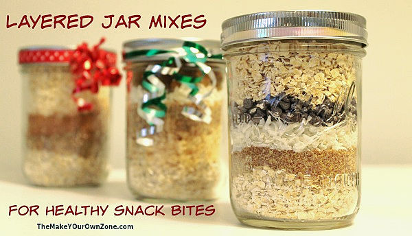 Layered jar mix to make healthy energy snack bites