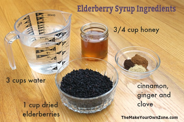Ingredients for homemade elderberry syrup