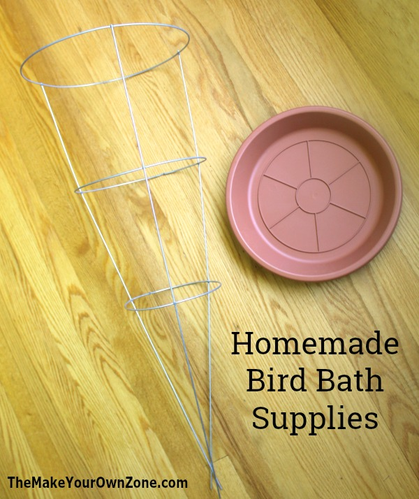 How to make a tomato cage bird bath