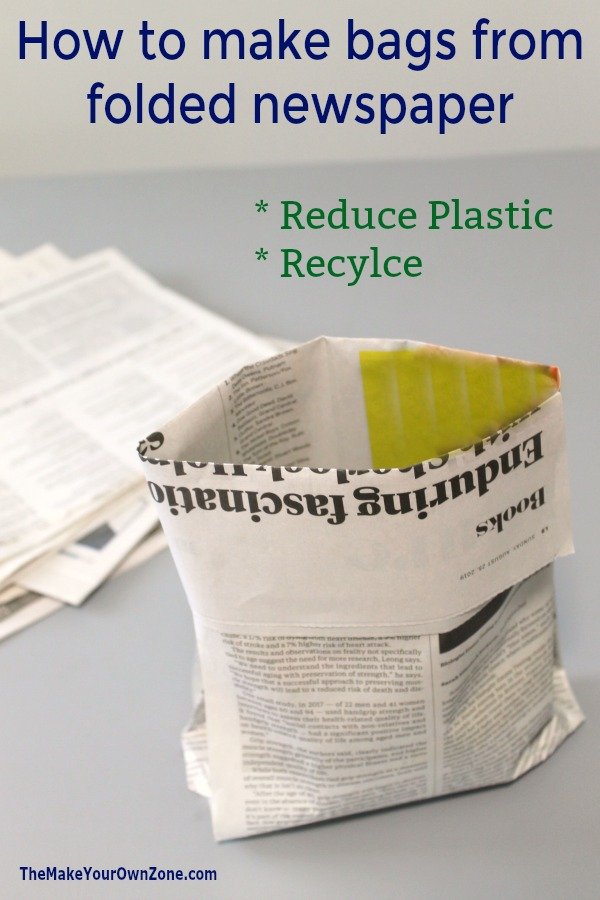 Recycle old newspapers to make handy folded bags