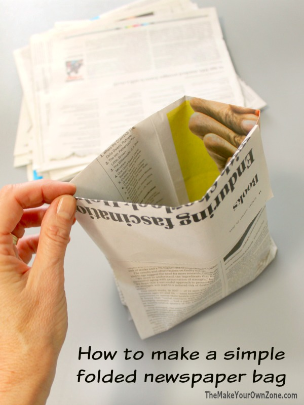 How to make a bag from folded newspaper