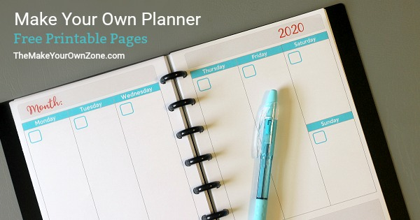 Make a free printable planner for 2020