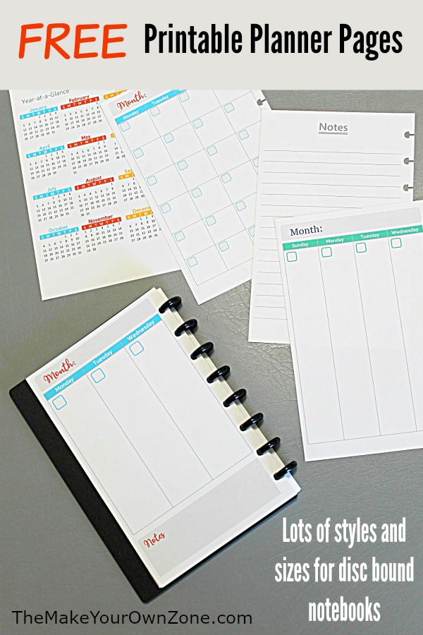 Free printable planner pages for disc bound Arc notebooks