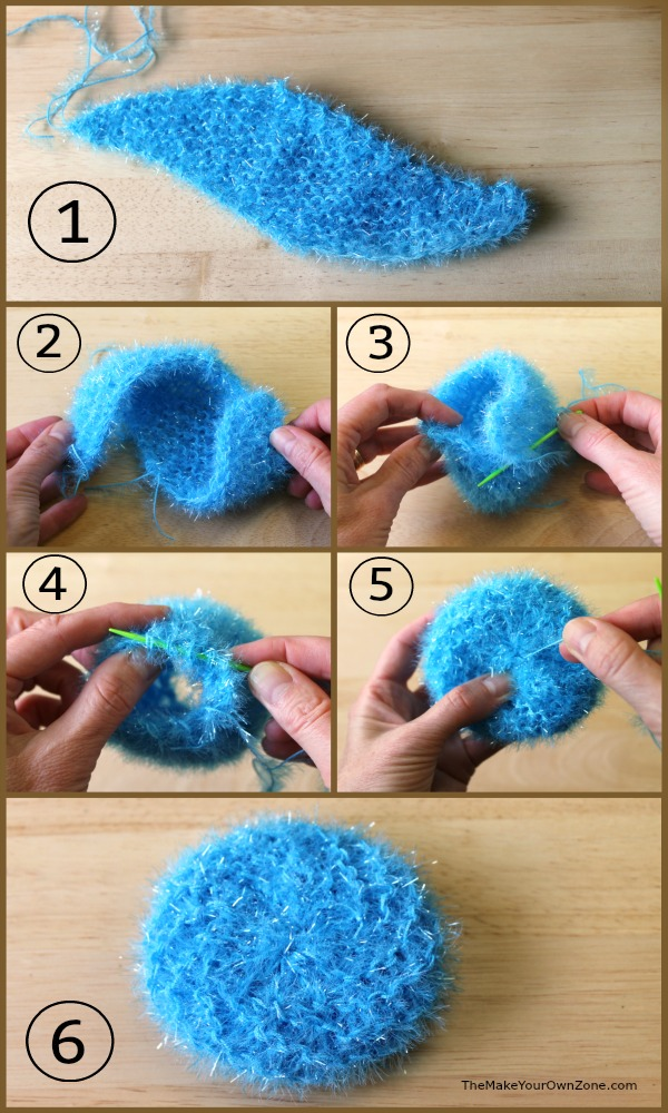 Pattern for how to knit a scrubby