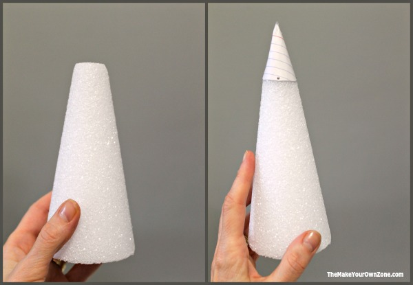 Use a styrofoam cone to make a string Christmas tree