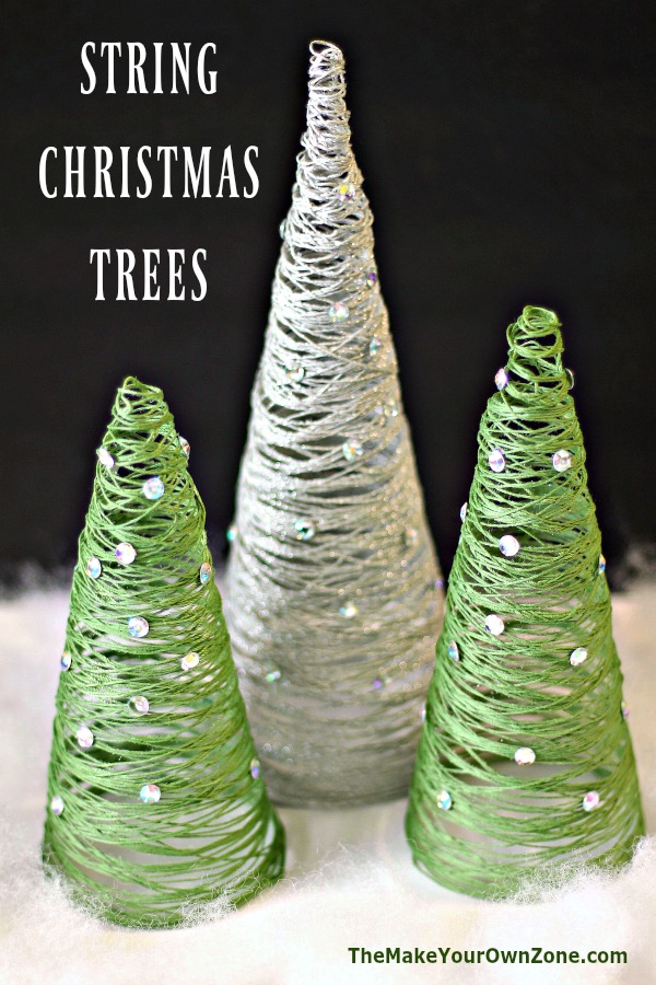 How to make a decorative tabletop Christmas Tree using string and Mod Podge