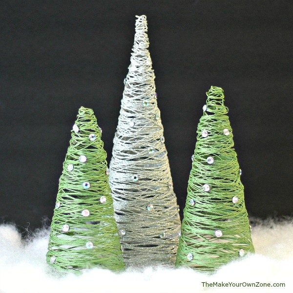Homemade string Christmas trees made using Mod Podge