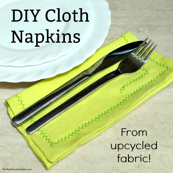 Upcycled DIY cloth napkins