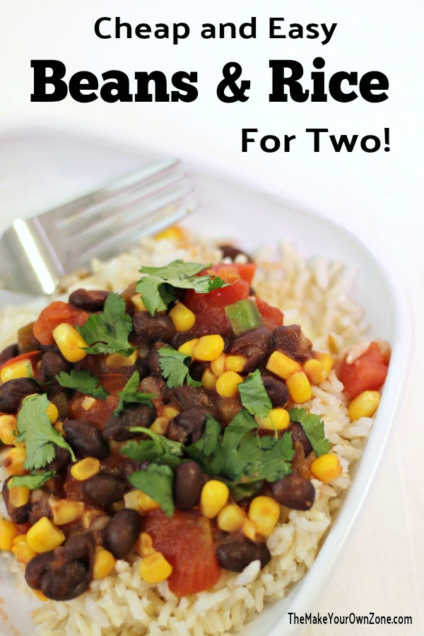 Recipe for Beans & Rice for two people