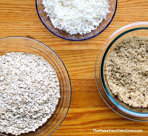 Ingredients for coconut oatmeal cookies