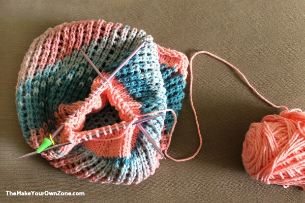how to knit a mesh market bag
