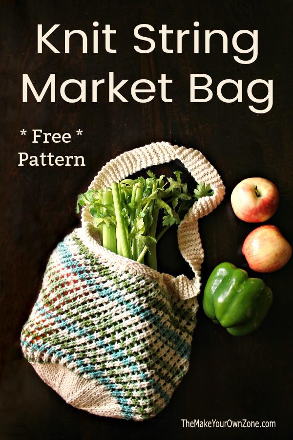 Knitting pattern for a mesh string market bag