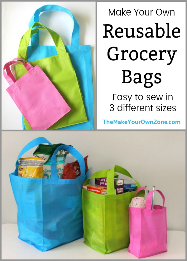 How to sew reusable grocery bags in 3 different sizes