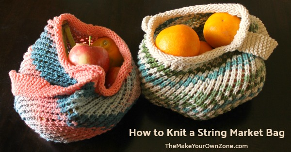 knit string bags made with cotton yarn