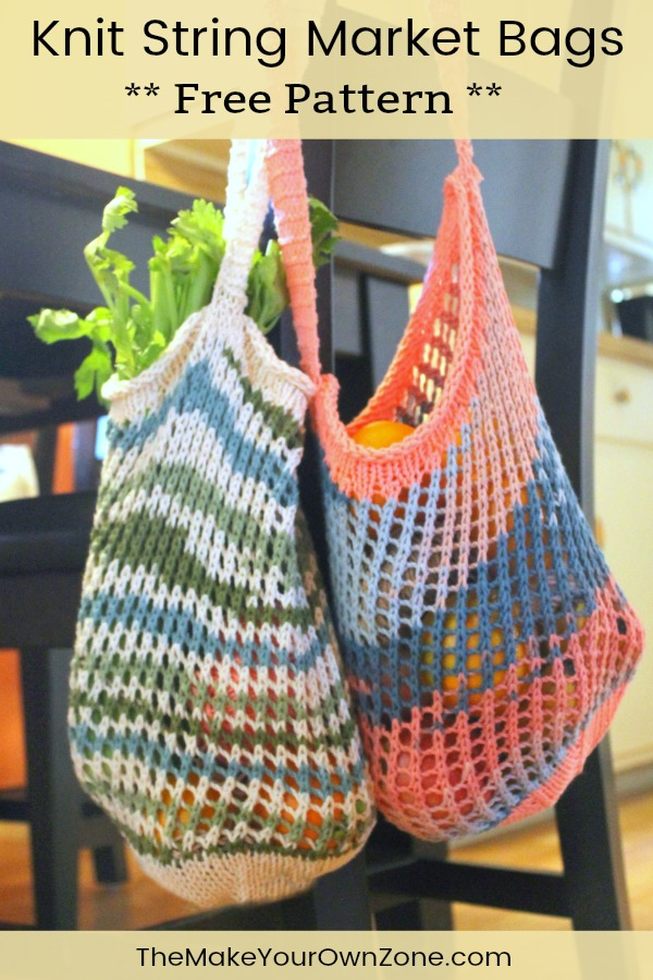 Knit string bags hanging on a chair