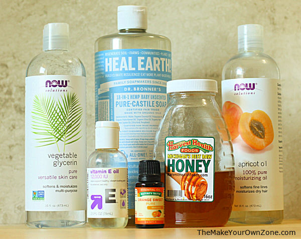 Ingredients for homemade natural body wash
