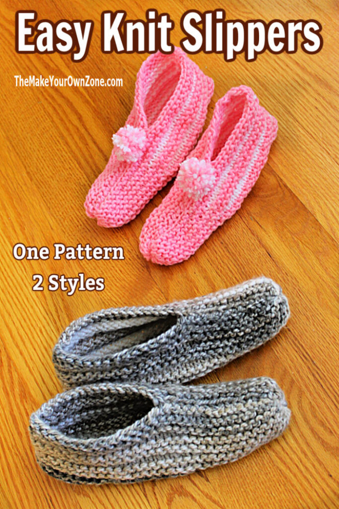 Knit slippers made two different ways