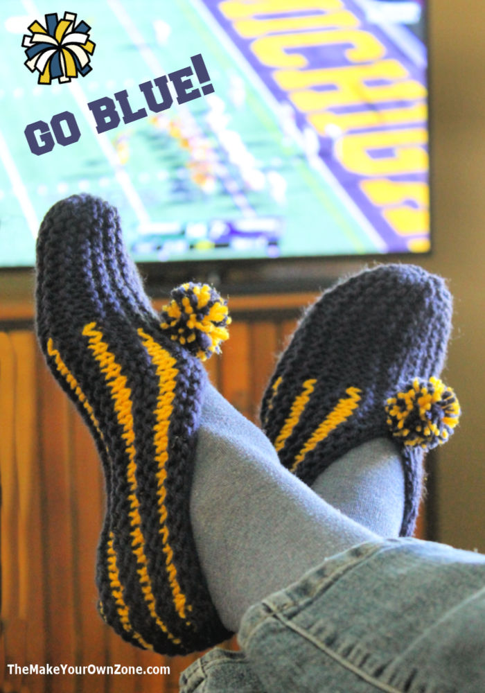 Homemade knit slippers in University of Michigan colors
