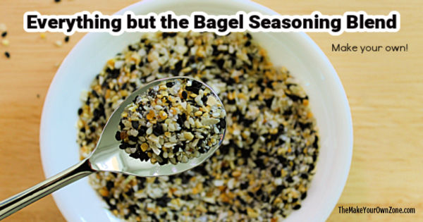 A spoon filled with homemade everything bagel seasoning