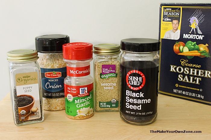 Ingredients to make homemade everything bagel seasoning