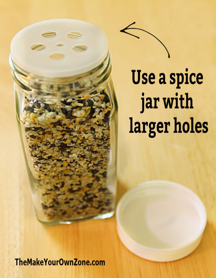 Jar of homemade Everything But The Bagel spice blend